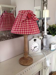 Red Gingham Lamp