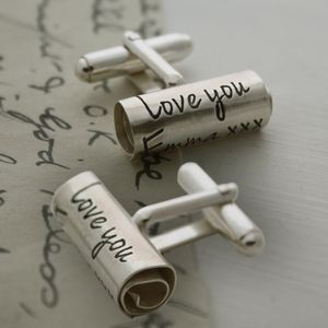 Personalised Handwritten Scroll Cufflinks - gifts for him