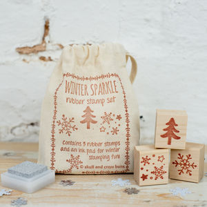Winter Sparkle Christmas Rubber Stamp Set