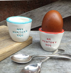 Pair Of Personalised Ceramic Egg Cups - tableware