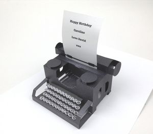 Personalised Typewriter Pop Up Card - valentine's cards