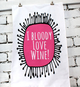 'Wine' Tea Towel