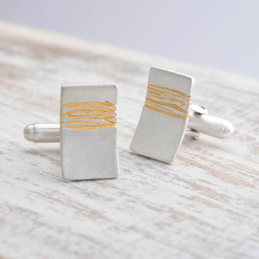 Kate Smith Jewellery Etched Silver And Gold Cufflinks