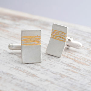 Etched Silver And Gold Cufflinks - cufflinks