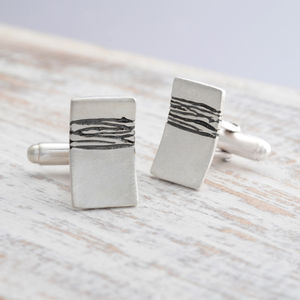 Sterling Silver Etched Cufflinks - cufflinks
