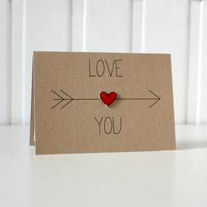 'Love You' Arrow And Heart Card - engagement cards