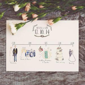 Bespoke Illustrated Wedding Schedule - order of service