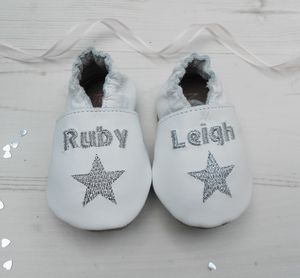 Personalised Star Christening Shoes - socks, tights & booties