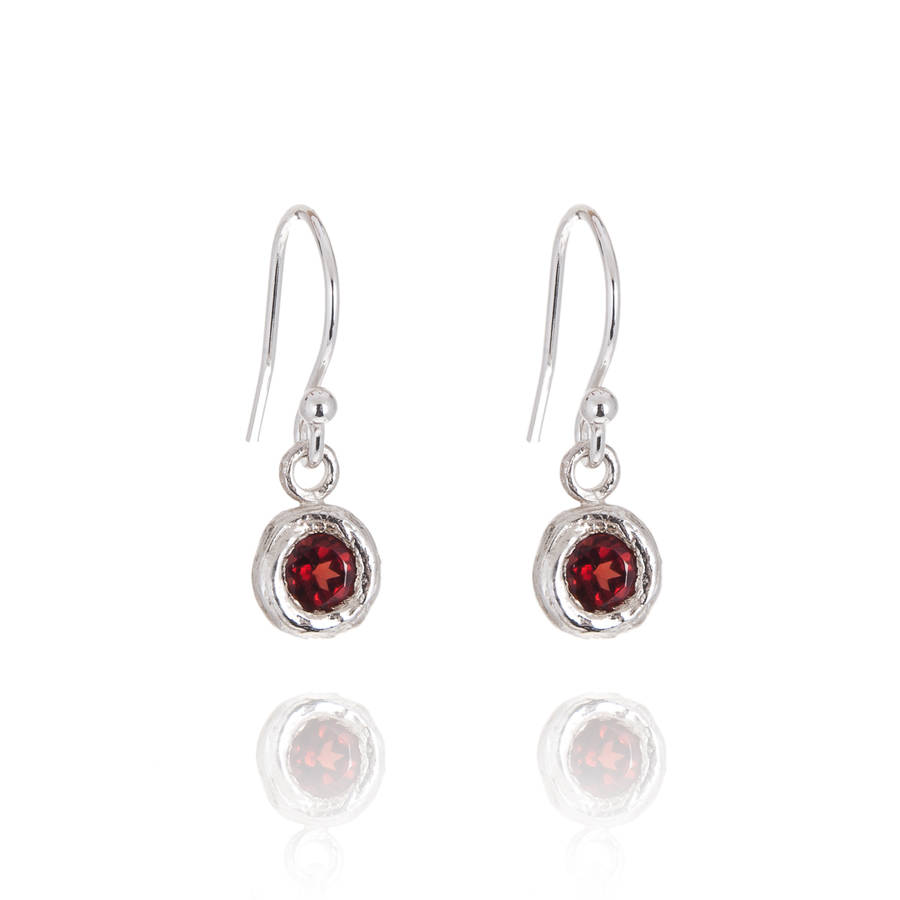Silver And Garnet Drop Earrings