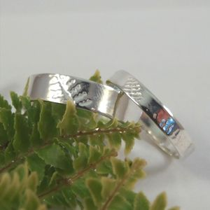 Fern Frond Wedding Bands, In Sterling Silver
