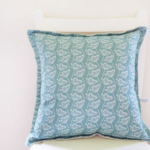 Seagreen Cow Parsley Linen Cushion