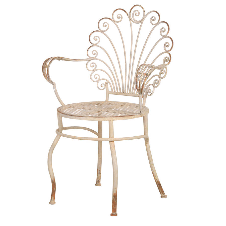 Out There Interiors Scroll Back Distressed Garden Chair
