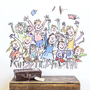 Happy Quentin Blake / Roald Dahl Wall Sticker - wall stickers