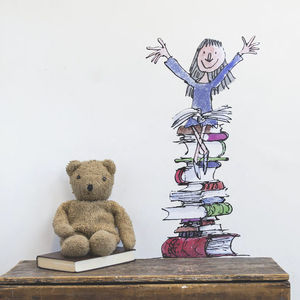 Matilda On Her Books Wall Sticker - children's room