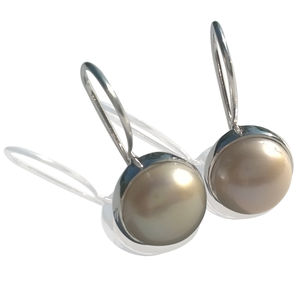 Pearl Earrings Silver Circular Pattern - earrings