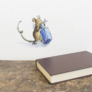 Mouse With Bottle Quentin Blake Wall Sticker - wall stickers