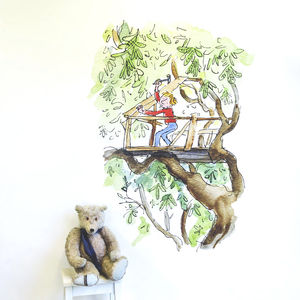 Boy In Treehouse Quentin Blake Wall Sticker - wall stickers