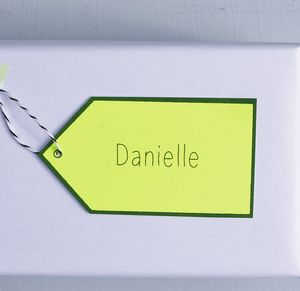 Neon Personalised Name Gift Tag - christmas labels & tags
