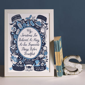 Alice In Wonderland, Famous Quotes Print - posters & prints