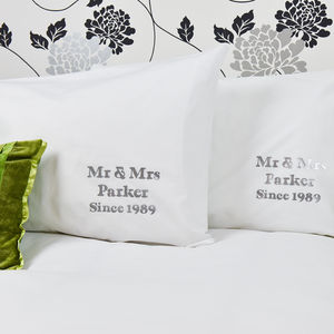 Personalised 'Silver Anniversary' Pillowcases - 2nd anniversary: cotton