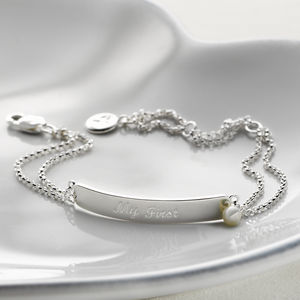Child's 'My First' Pearl Engraved Identity Bracelet - christening gifts