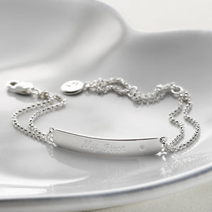'My First' Diamond Engraved Child's Bracelet - christening jewellery