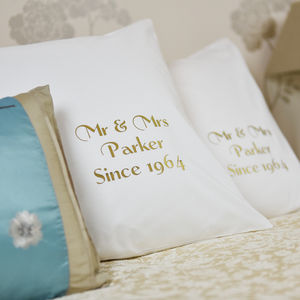 Personalised 'Golden Anniversary' Pillowcases - 2nd anniversary: cotton