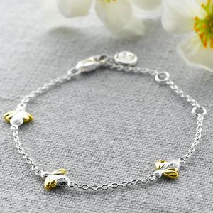 Gold Vermeil Three Honey Bee Silver Bracelet