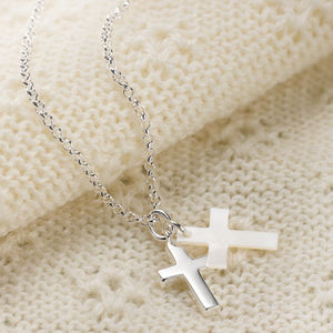 Child's Mother Of Pearl Cross Necklace