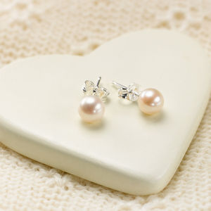 Freshwater Pearl Stud Silver Earrings - children's jewellery
