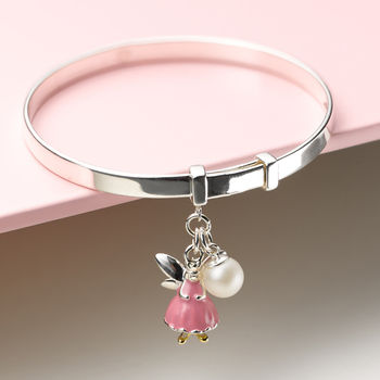 Childs Pink Fairy Wish Expandable Christening Bangle