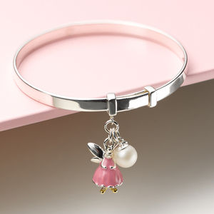 Personalised Pink Fairy Christening Bangle - christening jewellery