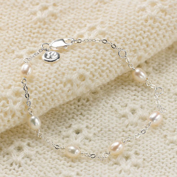 Child's Pearl Station Silver Bracelet