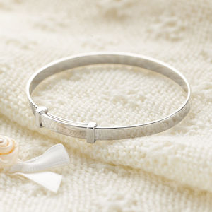 Sterling Silver Child's Christening Expandable Bangle - christening gifts