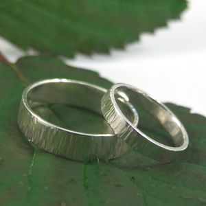 Bark Effect Wedding Bands In Sterling Silver - wedding & engagement rings