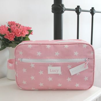 Pink Star Personalised Wash Bag