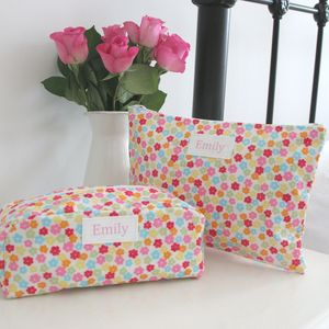 Personalised Floral Washbag And Cosmetic Bag - make-up & wash bags