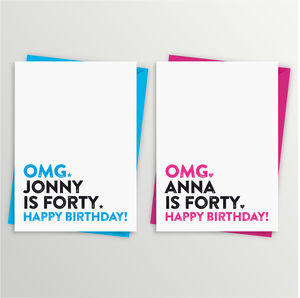 40th Birthday Card Personalised - birthday cards