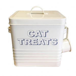 Cat Treat Container In Cream - food, feeding & treats