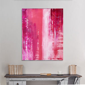 Original Pink And Red Abstract Art - paintings & canvases