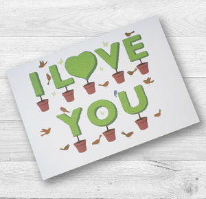 I Love You Topiary Birthday Card