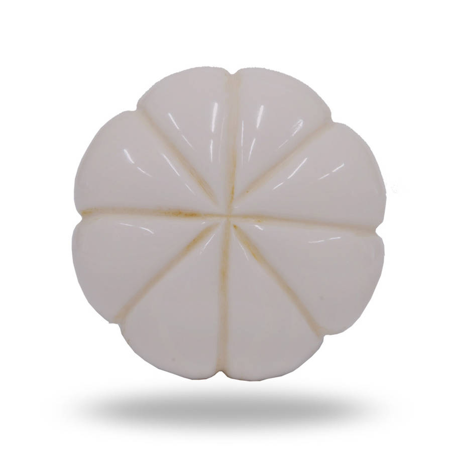 Resin Door Knob White Round Engraved
