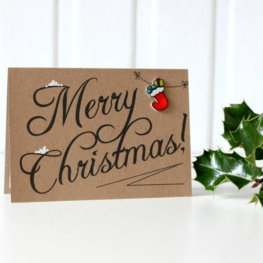 christmas stocking merry christmas card by little
