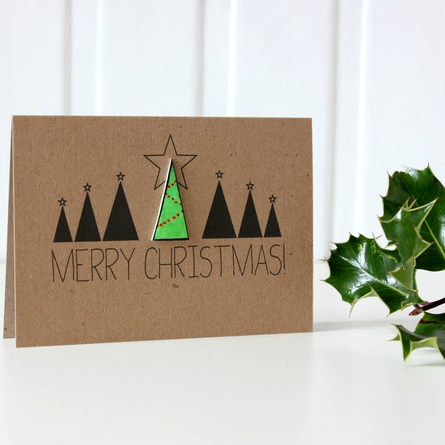 Decorating Tips For A Modern Merry Christmas: Personalised 'merry Christmas' Christmas Tree Card By