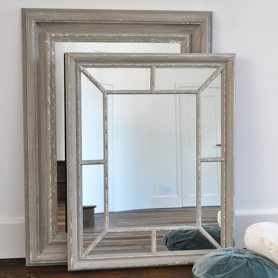 Antique Grey Panelled Mirror By Primrose Amp Plum