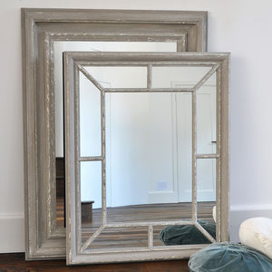 Antique Grey Panelled Mirror - living room