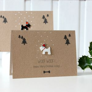 'Woof Woof Means Merry Christmas' Scottie Dog Card - shop edinburgh