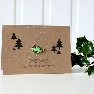 Festive Rawr Means Merry Christmas Dinosaur Card