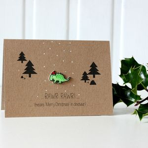 'Rawr Means Merry Christmas' Dinosaur Card - cards