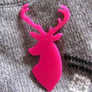Stag Head Christmas Brooch Neon Pink